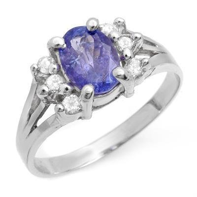 Certified-Genuine 1.43ctw Tanzanite & Diamond Ring 14K White Gold