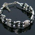 "Beautiful 7"" Tibet Silver and Black Onyx Bracelet"