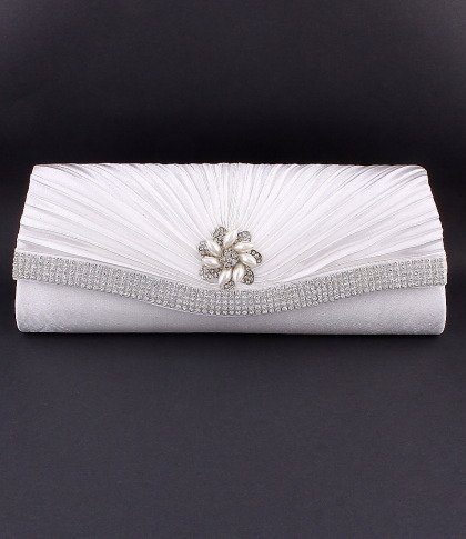 Black Flower Evening Clutch Bag with Austrian Crystal Rhinestone