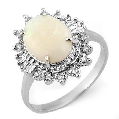 Certified-3.45 ctw Opal & Diamond Ring White Gold-Retail $1,410.00