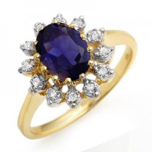Certified-1.22 ctw Iolite & Diamond Ring Yellow Gold-Retail $870.00