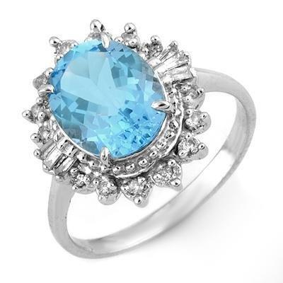 Certified-3.95 ctw Blue Topaz & Diamond Ring White Gold-Retail $1,270.00