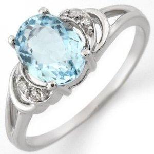 Certified-1.56 ctw Aquamarine & Diamond Ring White Gold-Retail $710.00
