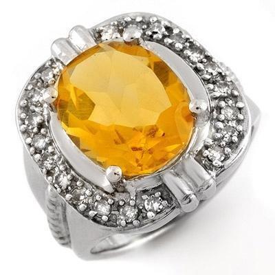 Certified-4.68 ctw Citrine & Diamond Ring White Gold-Retail $1,850.00