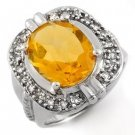 Certified-4.68 ctw Citrine & Diamond Ring White Gold-Retail $1,850.00