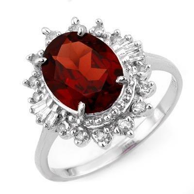 Certified-3.45 ctw Garnet & Diamond Ring White Gold-Retail $1,230.00