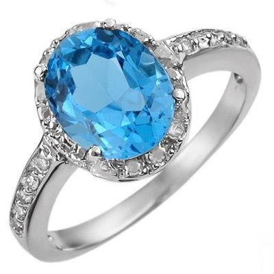 Certified-2.65 ctw Blue Topaz & Diamond Ring White Gold-Retail $760.00