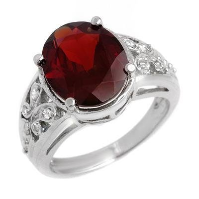 Certified-6.15 ctw Garnet & Diamond Ring White Gold-Retail $1,540.00