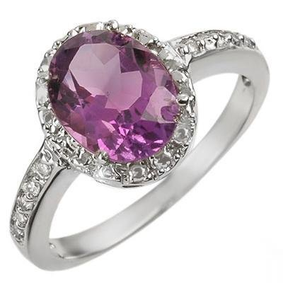 Certified-2.15 ctw Amethyst & Diamond Ring White Gold-Retail $750.00
