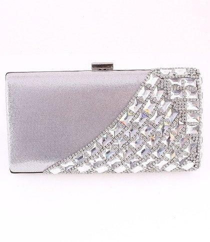 High Quality Clutch Silver Bag European Crystal Elements & Rhinestone on Front