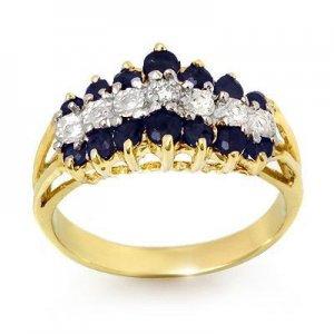 Certified-1.02 ctw Sapphire & Diamond Ring Yellow Gold-Retail $880.00