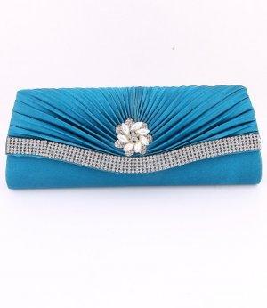 Blue-Teal Flower Evening Clutch Bag with Austrian Crystal Rhinestone