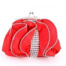 Satin Red Evening Clutch Bag Silver Tone Frame Austrian Rhinestone Crystal