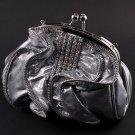 Satin Silver Evening Clutch Bag Silver Tone Frame Austrian Rhinestone Crystal