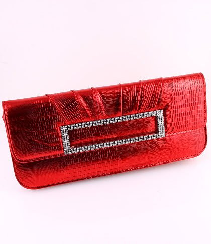 Faux Leather Evening Clutch Bag Austrian Rhinestones Crystal-Red