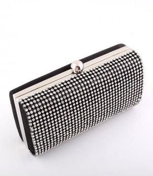 Black - High End Quality Clutch Evening Bag Genuine Austrian Crystal Rhinestone