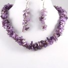 "Handcrafted 16"" Amethyst Necklace and Earring Set - Unique Design"