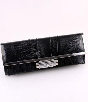 Black Faux Leather Evening Clutch Bag Austrian Rhinestones Crystal