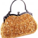 Gold Glass Bead & Sequins Evening Bag - Silver Tone Antique Style Frame