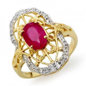 Certified-Genuine 2.12 ctw Ruby & Diamond Ring 14K Yellow Gold