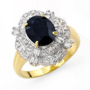 Certified-3.20 ctw Sapphire & Diamond Ring 14K Yellow Gold-Retail $2,200.00