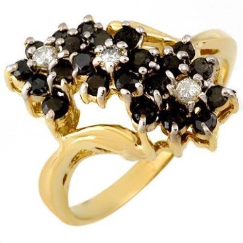 Beautiful Natural 1.25 ctw White & Black Diamond Ring 10k Yellow Gold