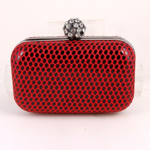 High End Quality Modern Clutch Bag with Crystal Ornament - Choice of 4 colors