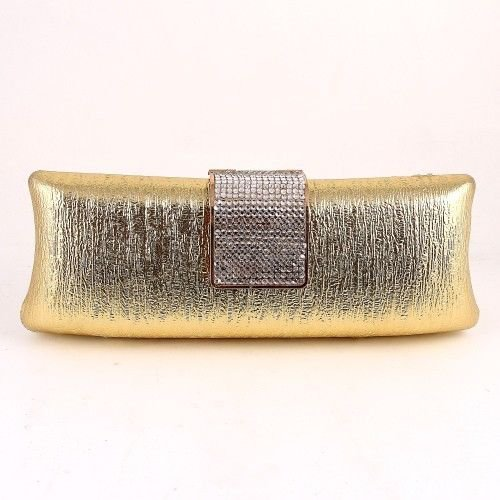 High End Quality Metallic Clutch Bag w/ Crystal Stones - Choice of 3 colors