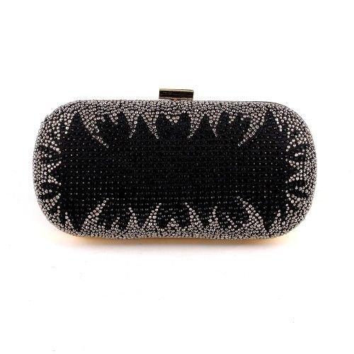 Crystal Rhinestone On One Sides Fashion Clutch Bag - Black Mixed
