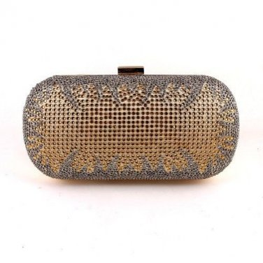 Crystal Rhinestone On One Sides Fashion Clutch Bag - Gold Mixed