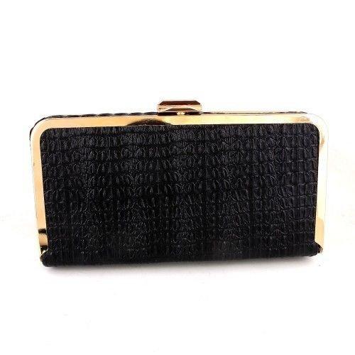 High-End-Quality Leatherette Fashion Clutch Bag-Snake Skin Pattern-Black