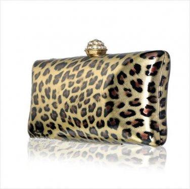 Luxury Leopard Clutch Austrian Crystal Rhinestone Evening Bag
