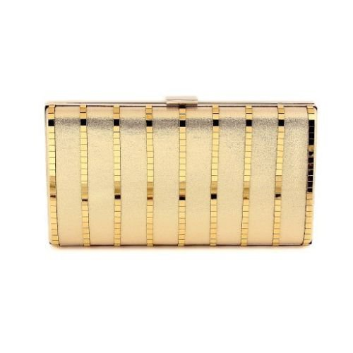 Elegant & Classic Gold Color Satin Evening Bag with chain