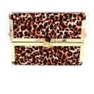 High End Quality Leatherette Case Fashion Clutch Bag - Animal Print - Brown