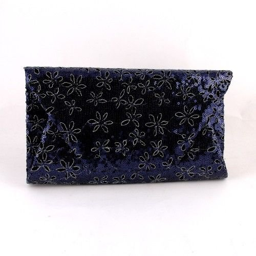 High End Quality Fashion Clutch Bag With Sequin Flower Design - Blue