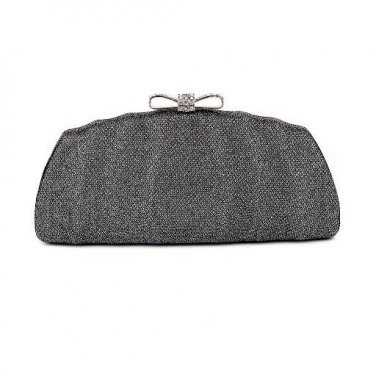 Evening Clutch Bag with Bow Crystal Ornament  - Glisten Gray