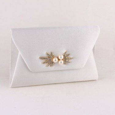High End Quality Satin Clutch Bag with Rhinestone & Pearl - White