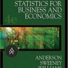 Essentials of Statistics for Business and Economics 4th Ed. by David R. Anderson 032422320X