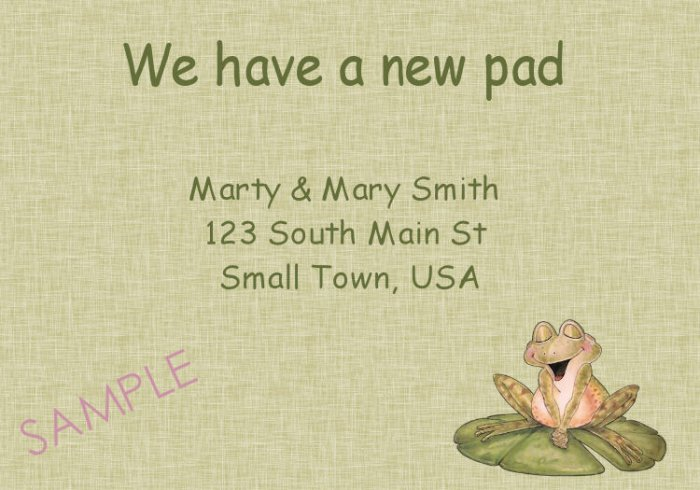 Just Moved Moving Announcements Personalized Cards Cute Frog on Lily Pad