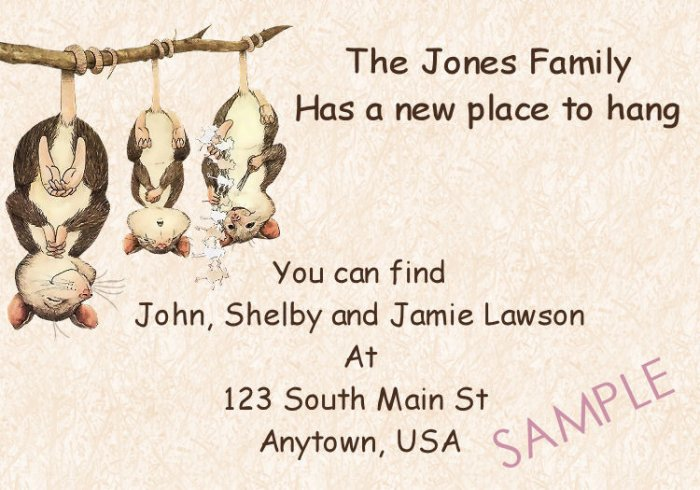 Just Moved Moving Announcements Personalized Cards Cute Opposum Family