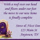 Just Moved Moving Announcements Personalized Cards Purple Trim Front Door