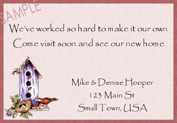 Just Moved Moving Announcements Personalized Cards Cute Bird House