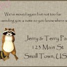 Just Moved Moving Announcements Personalized Cards Cute Raccoon