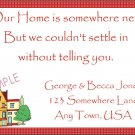 Just Moved Moving Announcements Personalized Cards Cute House With Red Checked Trim