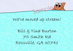 Just Moved Moving Announcements Personalized Cards With Cute Fish