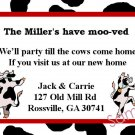 Just Moved Moving Announcements Personalized Cards With Cute Dancing Cows