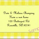 Just Moved Moving Announcements Personalized Cards With Yellow Gingham Border