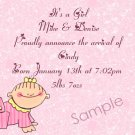 New Baby Birth Announcements Personalized Cards Baby Girl With Speckled Background