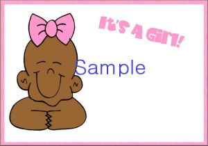 New Baby Birth Announcements Personalized Cards Cute Afro-American Baby With Pink Bow