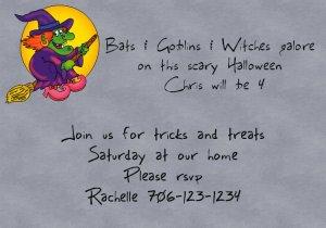 birthday invitations haloween theme witch personalized